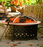 "Plow & Hearth Lattice Side Fire Pit With Fire Bowl - Copper-Finished Steel Bowl and Pained Metal Lattice Frame - 30"" dia. x 21½""H"