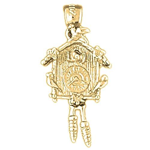 Amazon.com: 14 K Amarillo Oro D/C Reloj De Cuco colgante ...