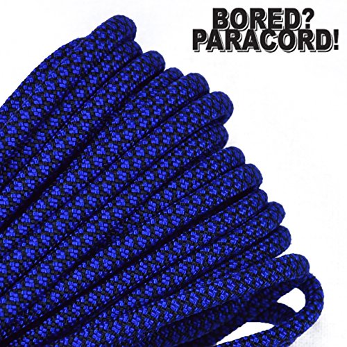 BoredParacord Brand 550 lb Type III Paracord - Electric Blue Diamonds 100 Feet