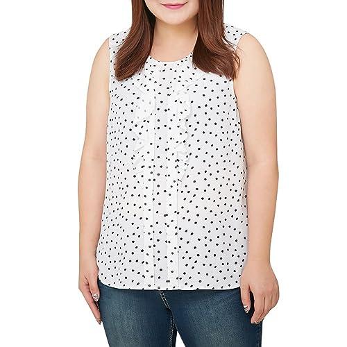MS.SHE femminile casuale della maglia a pois senza maniche Tops T-shirt più Size