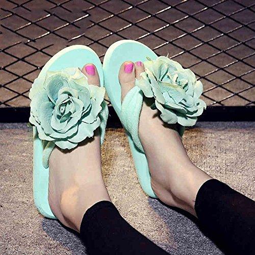 Estate Sandali 3.0 CM Pantofole femminili estive piatte con fiori antisdrucciolo fiori freschi pantofole Colore / formato facoltativo