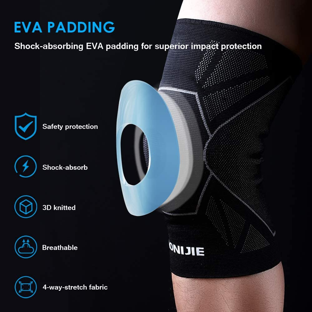 S,M,L AONIJIE Protective Knee Pads Compression Knee Brace Sleeves,High elasticity,Non-slip,Thick EVA Pad,1 Pair