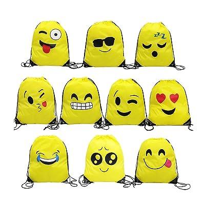 Emoji Bolsas de Cuerdas,TANGGER 10 Piezas Bolsa de gimnasio Emoji para niños Bolsas de fiesta de cumpleaños Bolsa de regalo Artículos de fiesta Regalo de Navidad: Deportes y aire libre