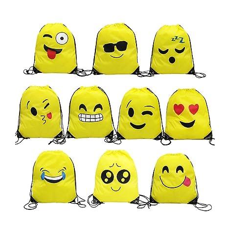 Emoji Bolsas de Cuerdas,TANGGER 10 Piezas Bolsa de gimnasio Emoji para niños Bolsas de fiesta de cumpleaños Bolsa de regalo Artículos de fiesta Regalo ...