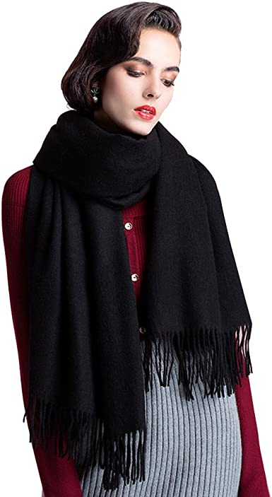 Women Pashmina Scarfs Winter Warm Shawl Soft Woollen Long Wrap Grey Evening