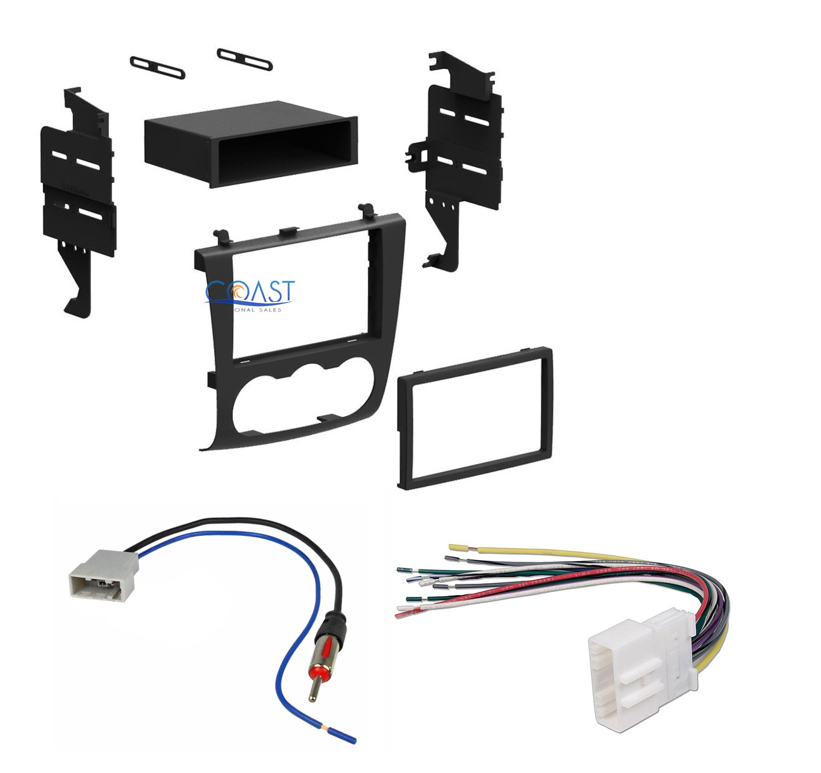 2007 2008 2009 2010 2011 Nissan Altima Single or Double Din Dash Kit Install Wire Harness & Antenna