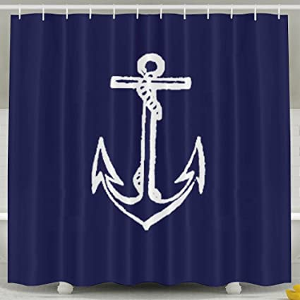 Nautical Navy Blue Anchor Of Pirate Shower Curtain Repellent Fabric Mildew Resistant Machine Washable Bathroom Anti