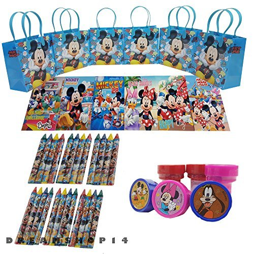 Disney's Mickey Mouse Goody Bag w/ Coloring Book Party Favor LtBlue (42Pc)FV -