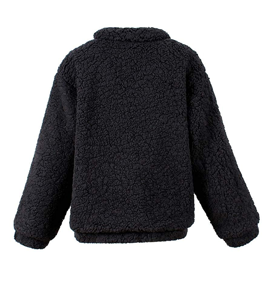Lealac Womens Fashion Oversized Coat Casual Long Sleeve Faux Shearling Warm Boyfriend Winter Outwear Zipper Jackets