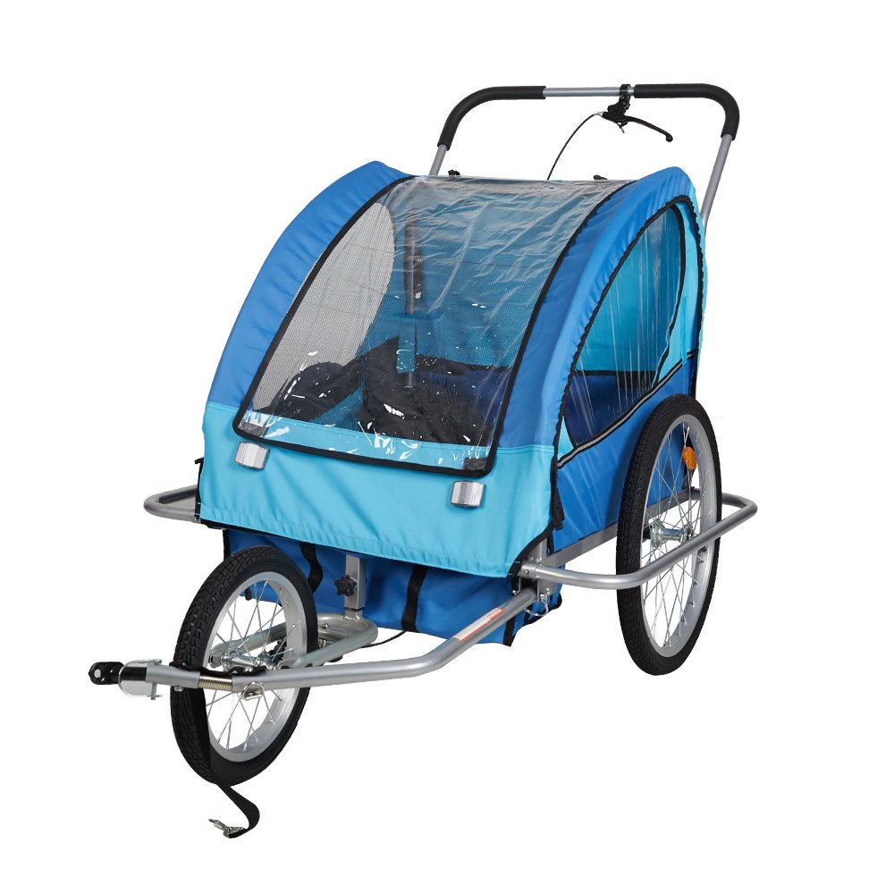 Lucky Tree Pet Dog Trailer Bicycle Trailer Stroller Jogger (Blue & Yellow) (Blue)