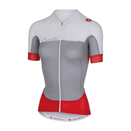 Castelli Womens Aero Race Full Zip Short Sleeve Cycling Jersey - A16053  (Grey White 25b76df0c