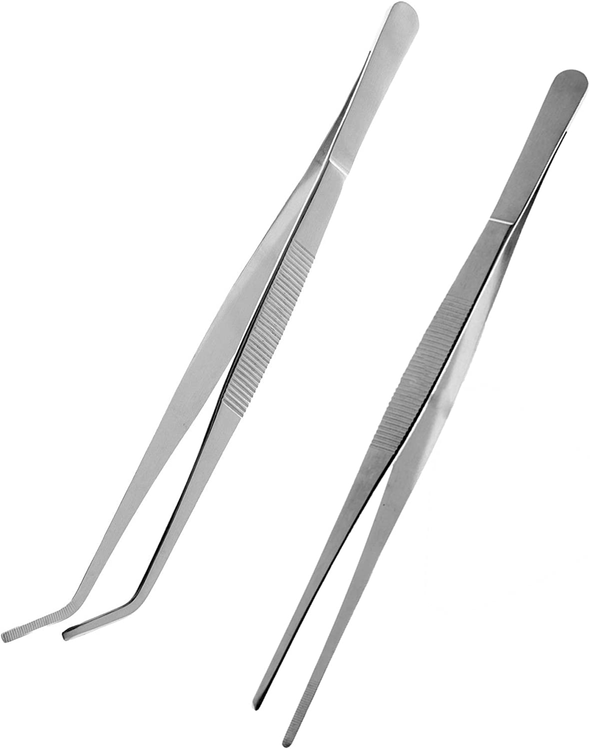 Dzrige 7.1 Inch Stainless Steel Tweezers Feeding Tongs for Aquarium Fishtank Reptile Lizards Gecko Spider Straight and Curved 2pcs