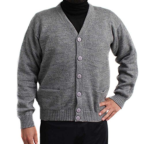 CARDIGAN GOLF SWEATER JERSEY V neck buttons and Pockets Alpaca Blend made in PERU GRAY M