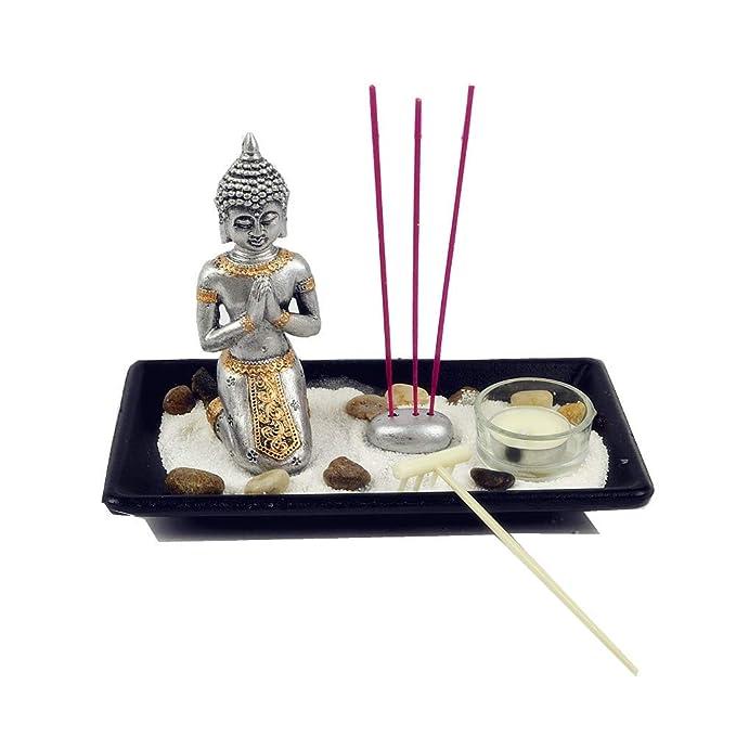 Gerimport Jardin Zen con Buda de Rodilla portavelas y Porta inciensos Surtido LH214106