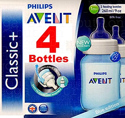 4 x Philips Avent 260 ml/255 Botellas Classic Azul - Anticólicos + ...