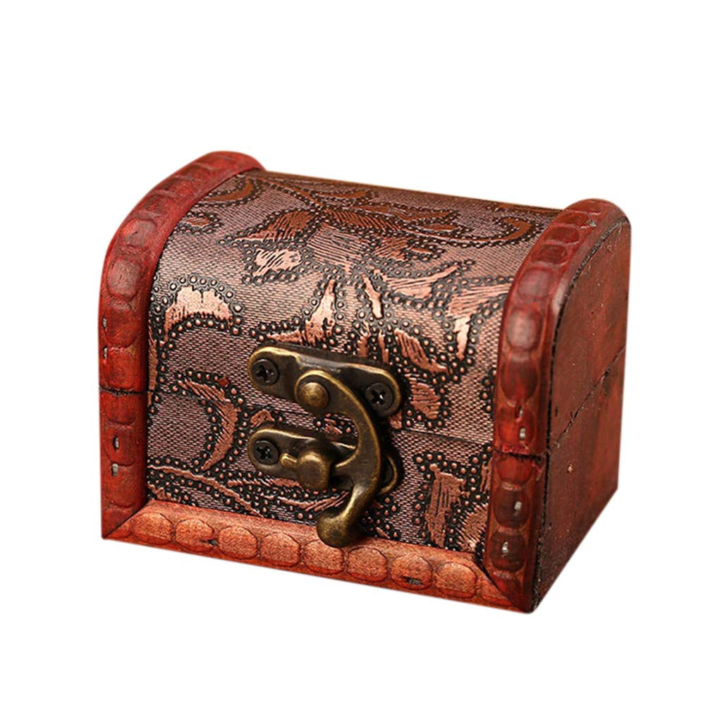 Onegirl Vintage Wooden Mini Jewelry Box for Women Men 8 X 6 X 6cm,Jewelry Storage Box Handmade Box With Mini Bronze Lock For Storing Treasure Pearl Bracelet Earrings Necklace Brooch (B)