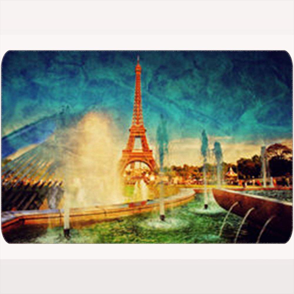 NOWCustom Unique Decor Doormats Eiffel Tower Seen Fountain Jardins Du Buildings Landmarks Romantic Parks Outdoor Home Welcome Doormat 16X24 Inches Indoor/Outdoor/Front Door/Bathroom Non Slip Mats