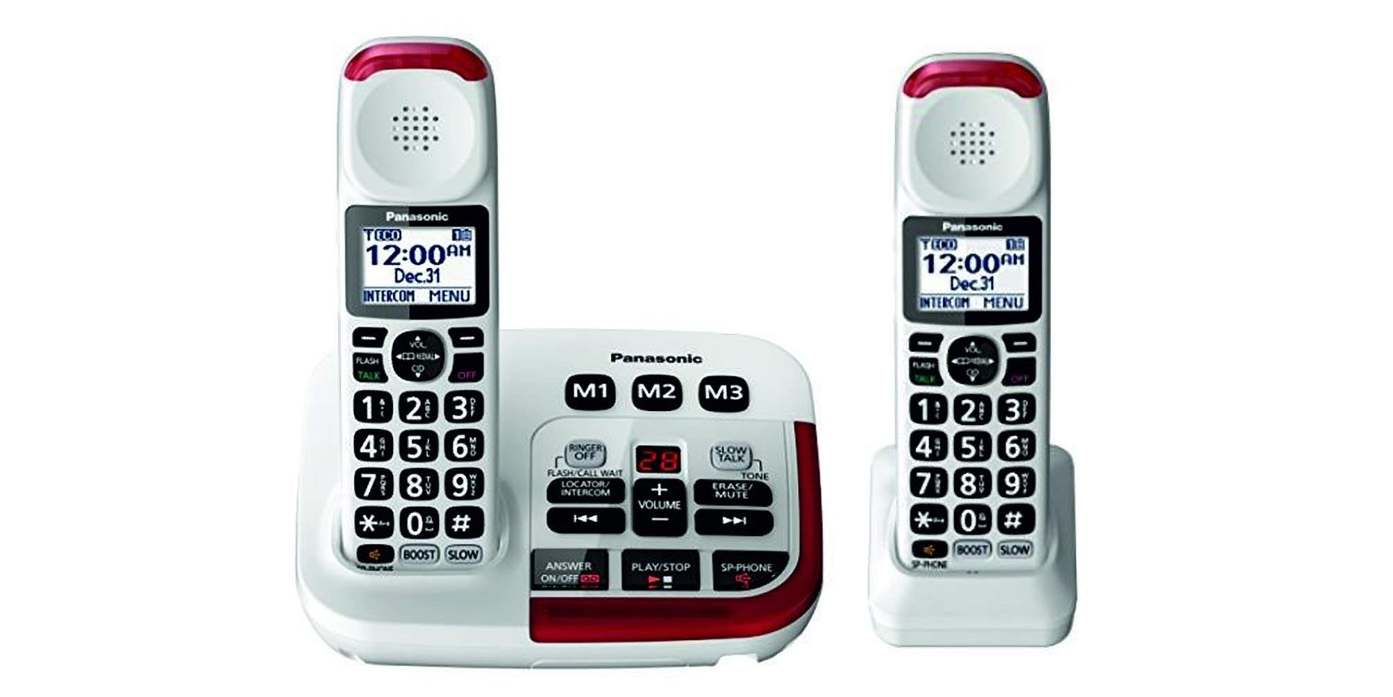 Panasonic KX-TGM420W + (1) KX-TGMA44W Amplified Cordless Phone with Digital Answering Machine and Voice Volume Booster upto 40 dB (2 Handsets) by Panasonic
