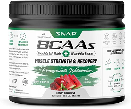 Snap Supplements BCAA Powder Pomegranate Watermelon Explosion – Nitric Oxide Booster – Essential Amino Acids – Muscle Strength Recovery Post Workout Drink for Men Women – 30 Servings