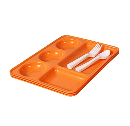 Amazon.com   Ruchi Five Partition Square Plates With Fork And Spoon ...