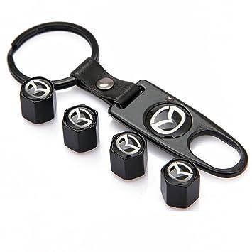 Mazda negro aleación coche rueda neumático válvula tapas ...