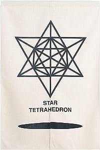 BAIHT HOME Cotton Linen Japanese Doorway Curtain Noren Room Divider Morden Geometric Star Tetrahedron Pattern Wall Decor Door Curtains Tapestry 27 x 59 Inch