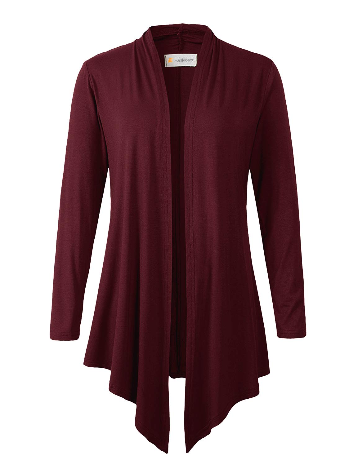 Eanklosco Women's Long Sleeve Drape Open-Front Cardigan Light Weight Irregular Hem Casual Tops (L, Wine Red)