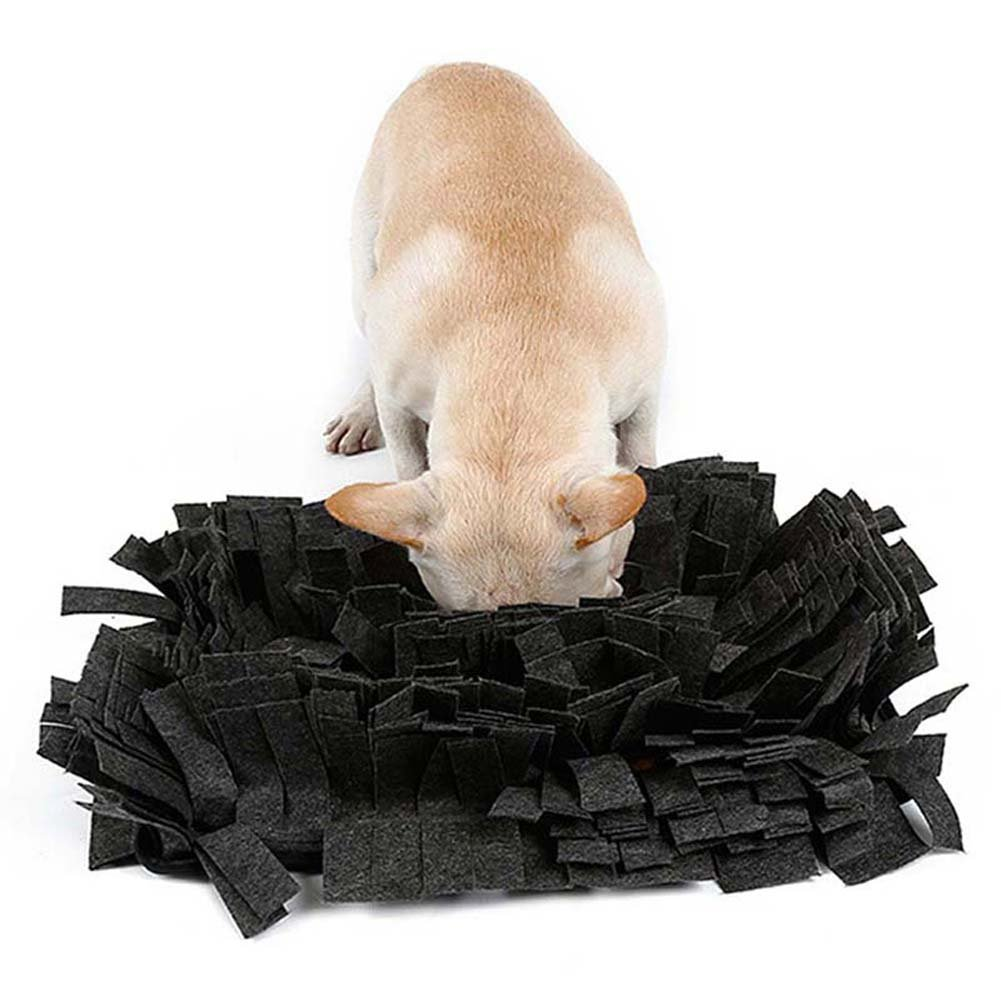 Alotm Pet Snuffle Mat, Dog Smell Training Mat, Encourages Natural Foraging Skills Dogs Puzzle Toys, Stress Release Nosework Blanket Durable and Machine Washable (Dark Gray)