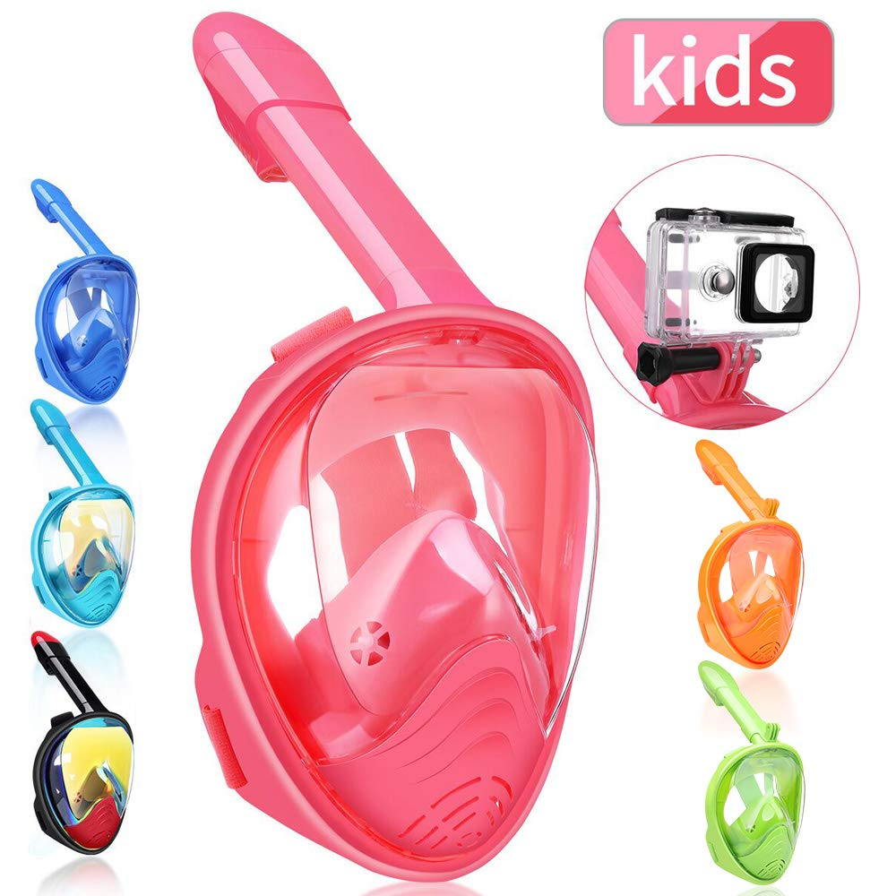 Snorkeling Mask with Detachable Camera Mount 180 Degree Panoramic View Anti-Fog Anti-Leak Snorkel Set for Youth /& Adult QingSong Full Face Snorkel Mask