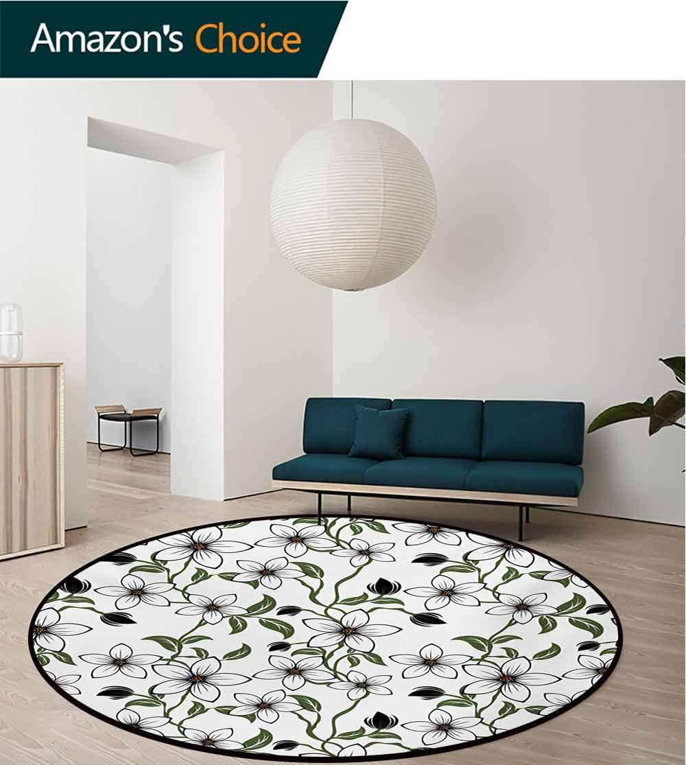 RUGSMAT Floral Machine Washable Round Bath Mat,Floral Arrangement with Leaves Petals and Buds Blossoming Nature Spring Art Non-Slip No-Shedding Bedroom Soft Floor Mat,Diameter-35 Inch by RUGSMAT (Image #3)