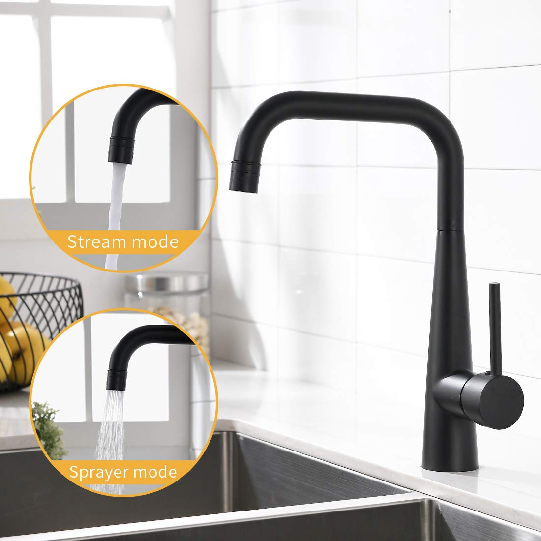 WANMAI Commercial Matte Black Kitchen Faucet, Solid Brass Body Kitchen Sink Faucet with Ceramic Valve, Single Handle Kitchen Faucets-Best Gift for Family!