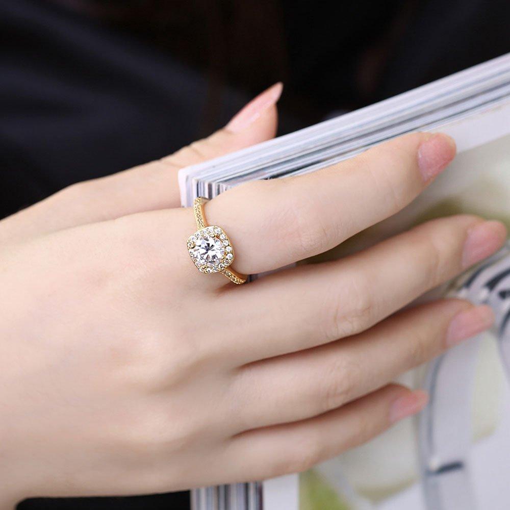 Amazon.com: LWLH Jewelry Womens 18K Yellow Gold Plated Princess Cut ...