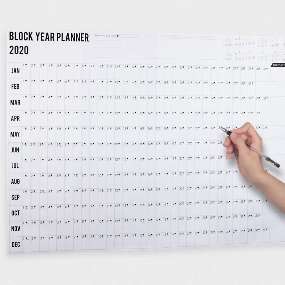 fille Cadeau de No/ël Organiseur pour la maison Calendrier annuel avec 2 feuilles dautocollants l/école Bloc lamin/é de 12 mois gar/çon le bureau Calendrier mural Vevice 2020