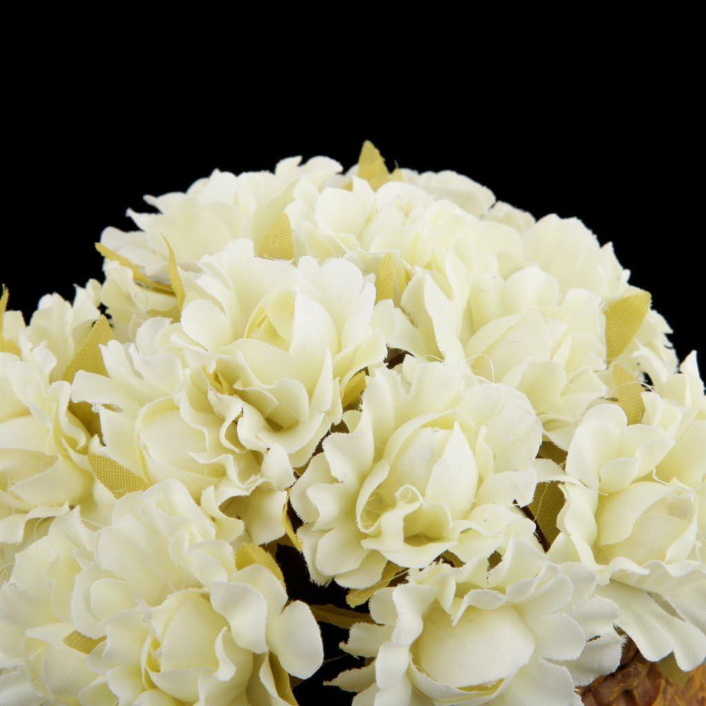 60pcs Cabezas de Flores Margarita-Ramo Artificiales Tela Decoraci/ón Boda Fiesta Beige
