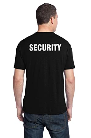 Amazon.com: Security T-shirt in Black printed Left Chest and Full ...