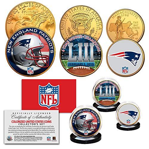SUPERBOWL LIII NFL CHAMPIONS New England Patriots 3-Coin 24K Gold Clad Logo Set (Gold Super Bowl Collectibles)
