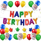 FUNPRT Rainbow Happy Birthday Foil Balloon Banner Stars for Kids Birthday Party
