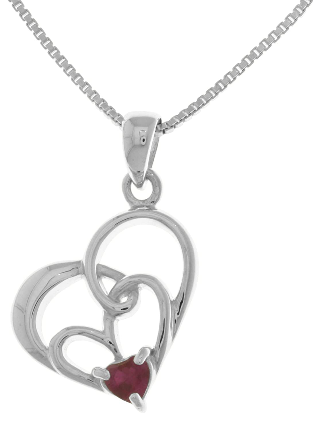 Jewelry Trends Mothers Day Double Heart Sterling Silver Pendant Necklace 18 with Created Ruby