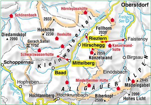 kleinwalsertal karte Kleinwalsertal Landkarte | Deutschland Karte