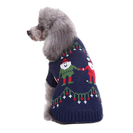 Warm Christmas Dog Dress Costume Small Poodle Pet Puppy Cat Apparel Coat Winter