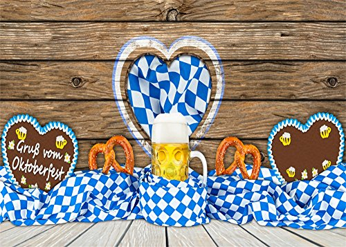 Leowefowa 5X3FT Oktoberfest Backdrop Gingerbread Doughnut Beer Banner Backdrops for Photography Blue Sky Wood Floor Summer Holiday Polyester Photo Background Holiday Party Studio Props
