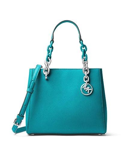 691eb725beeba MICHAEL Michael Kors Cynthia Small Saffiano Leather Satchel in Tile Blue   Handbags  Amazon.com