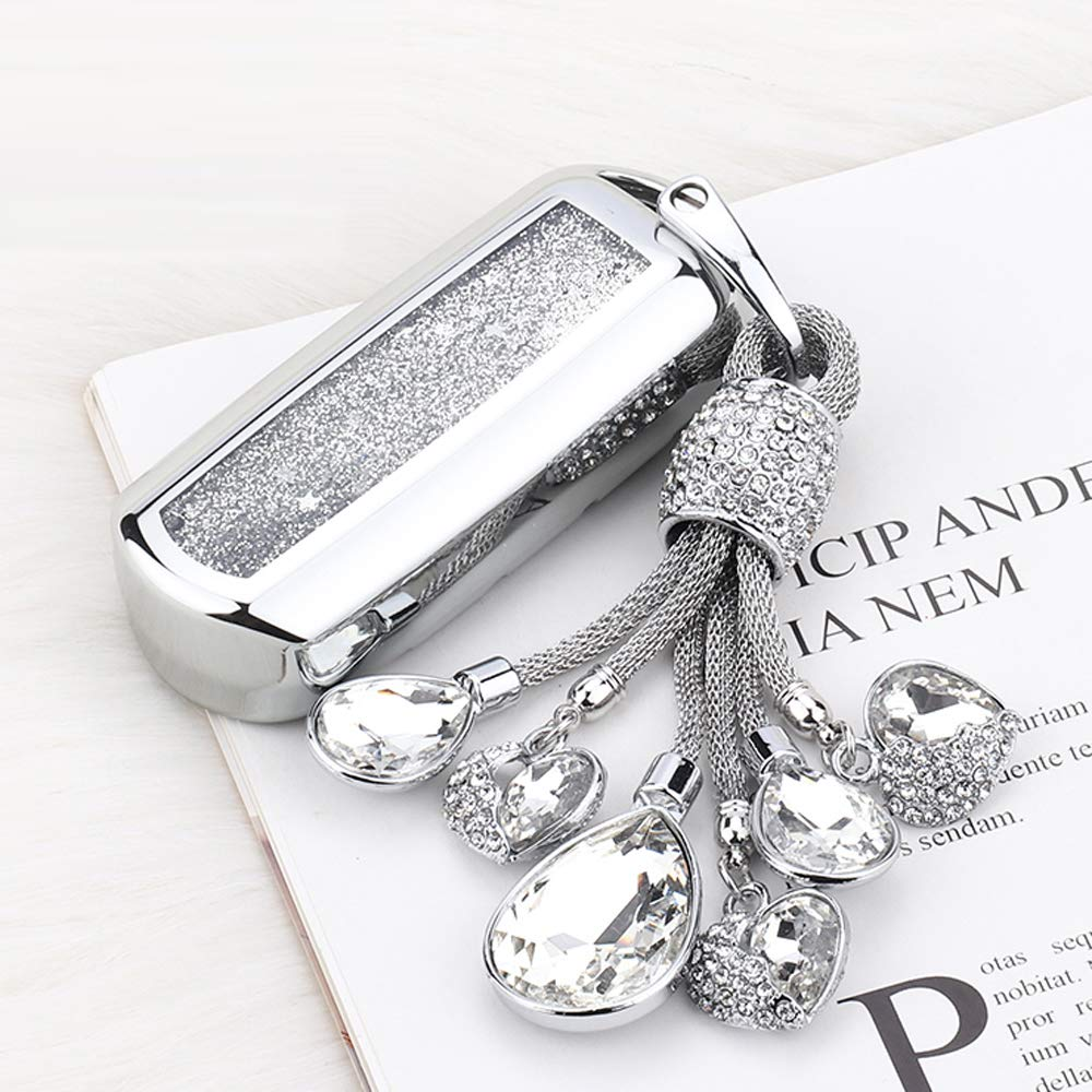 YIJINSHENG Chrome Silver TPU Car Key Fob Cover Case for Mazda 2 3 5 6 8 CX3 CX5 CX7 CX9 MX5 Smart Remote Key Protective Shell with Key Chain (Silver Crystal)