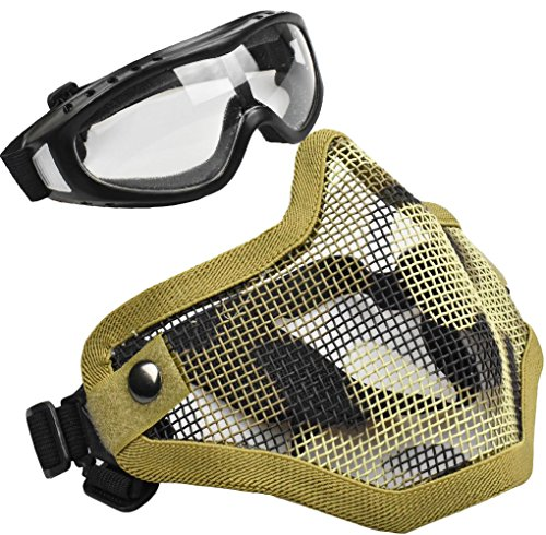 Jadedragon Tactical Airsoft Mask Adjustable Half Face Mask Steel Mesh Mask and Tactical Goggles Set For Airsoft/BB/CS Game (Desert color)