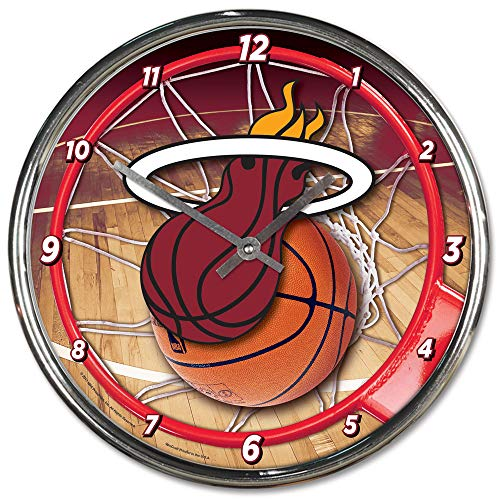 Wincraft Miami Heat 12 inch Round Wall Clock Chrome Plated -
