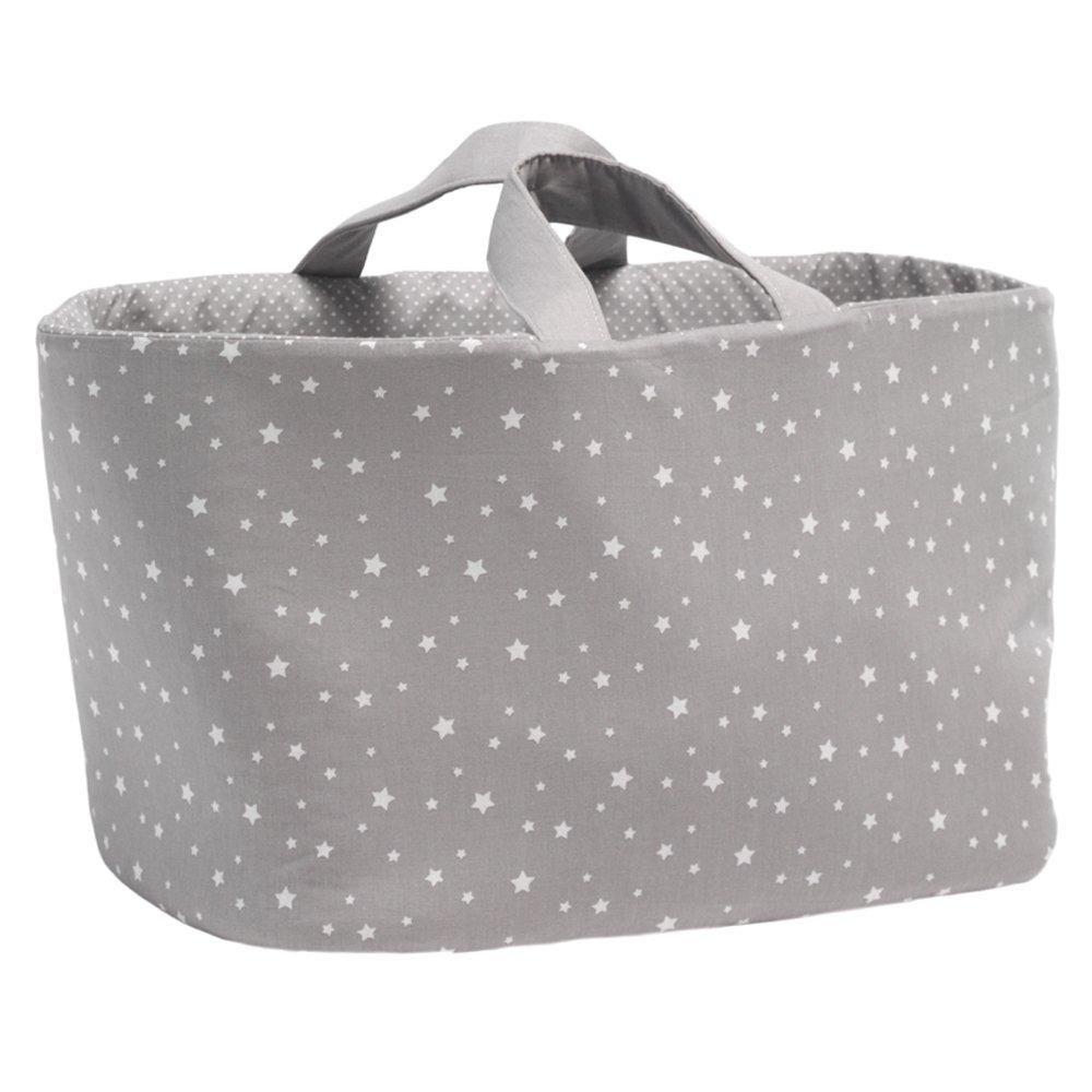 Funny Baby Stars–Borsa Juguetero ovale in tessuto, motivo stelle, 30x 45x 27cm, colore: grigio 702210