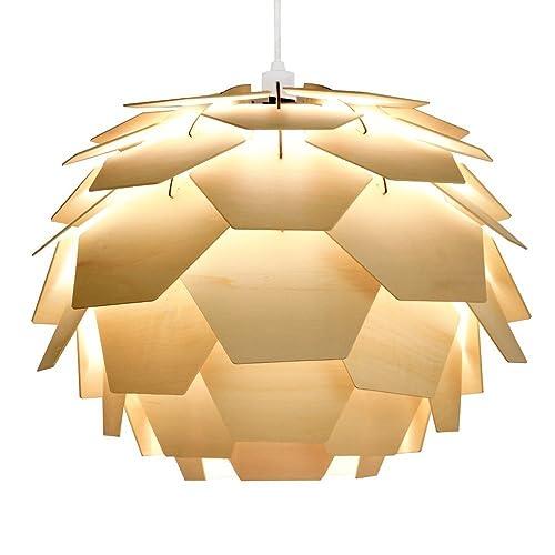 Modern designer style layered wood artichoke ceiling pendant light modern designer style layered wood artichoke ceiling pendant light shade aloadofball Image collections
