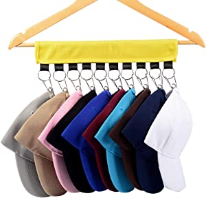 Hat Organizer ,Cap Racks ,Cap Organizer Hanger 10 Clips Stainless Steel, Hat Holder, Folding Clothes Hangers Foldable Clothes Drying Rack for Travel (Yellow)