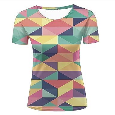 71c4e868f695 Amazon.com: SHUAIFA Men 3D T Shirts Geometric Triangle Yellow Graphic Short Sleeve  Tops: Clothing