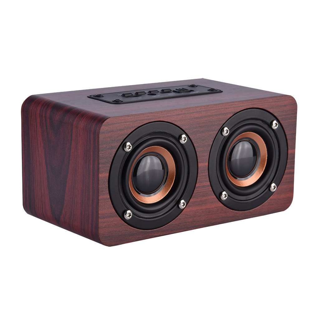 Wooden Combination Speaker Wireless Bluetooth 4.2 Speaker, Stereo Loudspeakers with 2 Horn, Portable Mini Multimedia Music Speakers with Superior Sound Quality(Red Wood) by Zerone